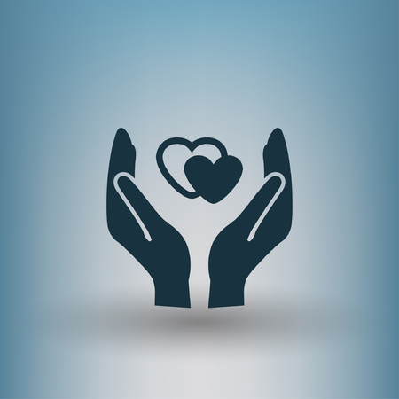 hand sign: Pictograph of heart in hand. Vector concept illustration for design.