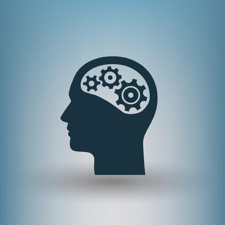 Pictograph of gear in head. Vector concept illustration for design. Eps 10 Vektorové ilustrace