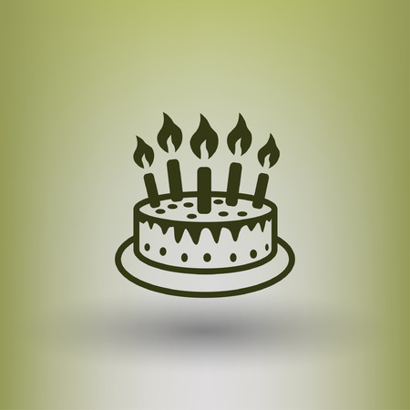 birthday candle: Pictograph of cake. Vector concept illustration for design. Eps 10