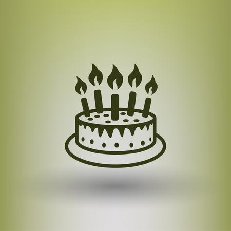 torta candeline: Pittogramma di torta. Illustrazione vettoriale concetto per il design. eps 10 Vettoriali