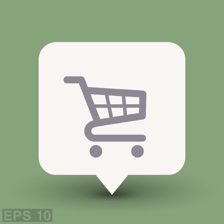 e retailers: Pictograph of shopping cart. Vector concept illustration for design. Eps 10