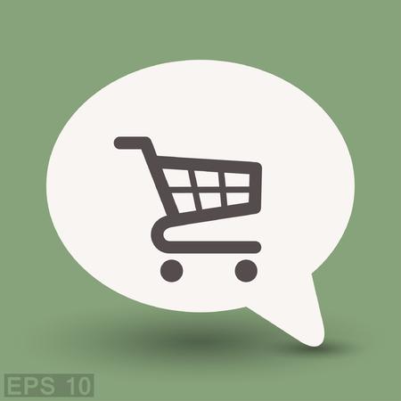 e market: Pictograph of shopping cart. Vector concept illustration for design.