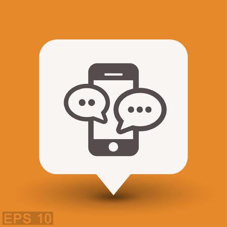 internet concept: Pictograph of message or chat on smartphone. Vector concept illustration for design. Eps 10 Illustration