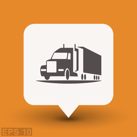 truck on highway: Pictograph of truck. Vector concept illustration for design. Eps 10 Illustration