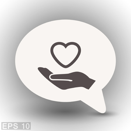 hold hands: Pictograph of heart in hand. Vector concept illustration for design.