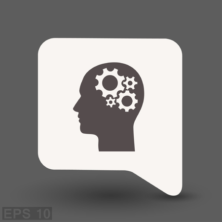 Pictograph of gear in head. Vector concept illustration for design.