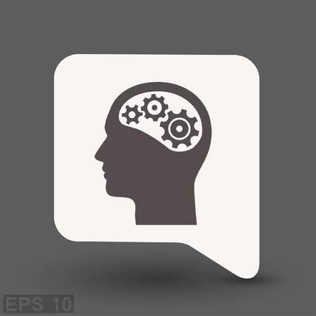Pictogramme d'engrenage dans la tête. Illustration de concept de vecteur pour la conception.