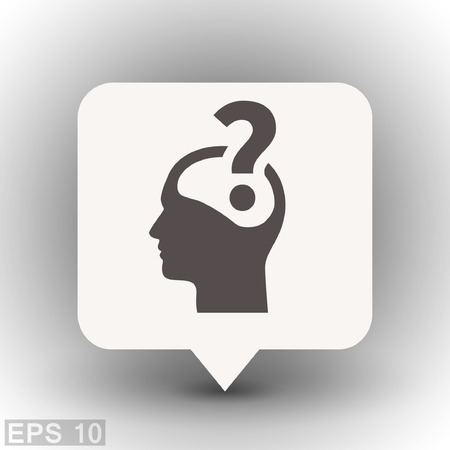 faq: Pictograph of question mark and man. Vector concept illustration for design. Eps 10