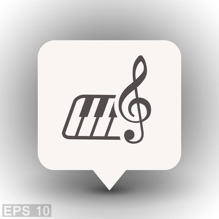 midi: Pictograph of music key and keyboard. Vector concept illustration for design. Eps 10