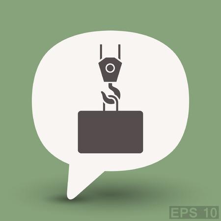 hook up: Pictograph of crane hook. Vector concept illustration for design. Eps 10