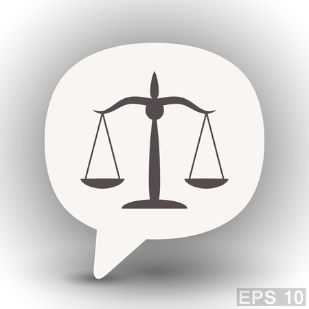 litigation: Pictograph of justice scales. Vector concept illustration for design. Eps 10