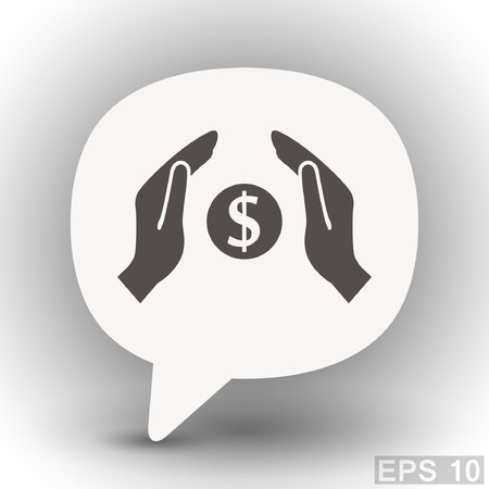 eps 10: Pictograph of money in hand. Vector concept illustration for design. Eps 10