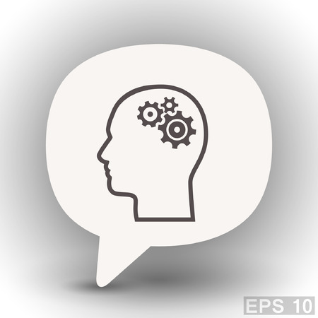 eps 10: Pictograph of gear in head. Vector concept illustration for design. Eps 10 Illustration