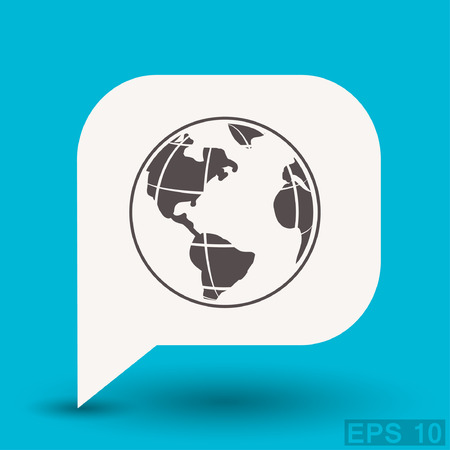 globe arrow: Pictograph of globe. Vector concept illustration for design. Eps 10