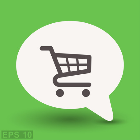 retailers: Pictograph of shopping cart. Vector concept illustration for design. Eps 10