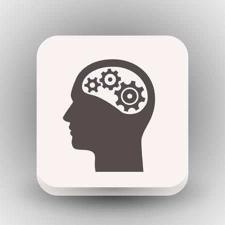 Pictogramme d'engrenage dans la tête. Illustration de concept de vecteur pour la conception. Eps 10