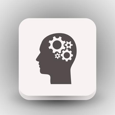 Pictogramme d'engrenage dans la tête. Illustration de concept de vecteur pour la conception. Eps 10 Vecteurs