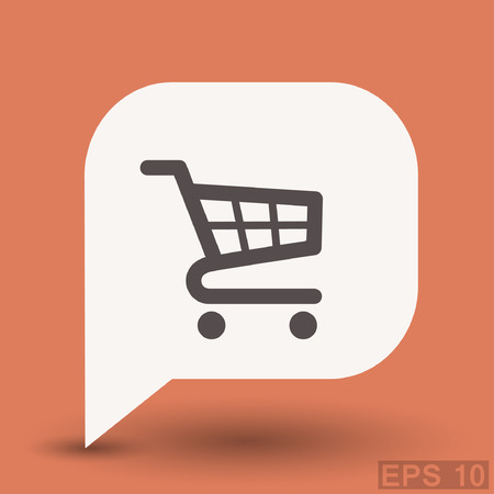 retailer: Pictograph of shopping cart. Vector concept illustration for design. Eps 10