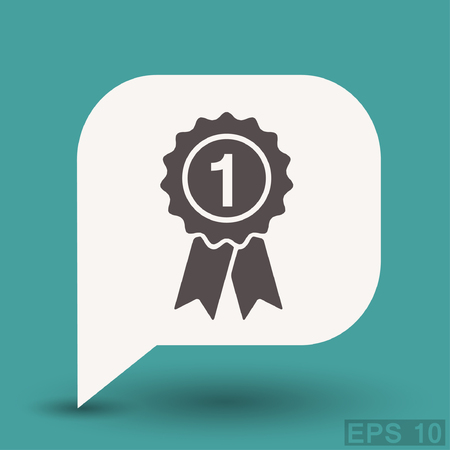 badge with ribbon: Pictograph of award. Vector concept illustration for design. Eps 10