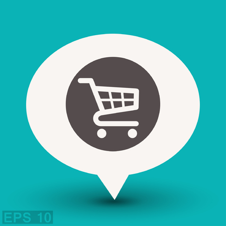 retailers: Pictograph of shopping cart. Vector concept illustration for design.