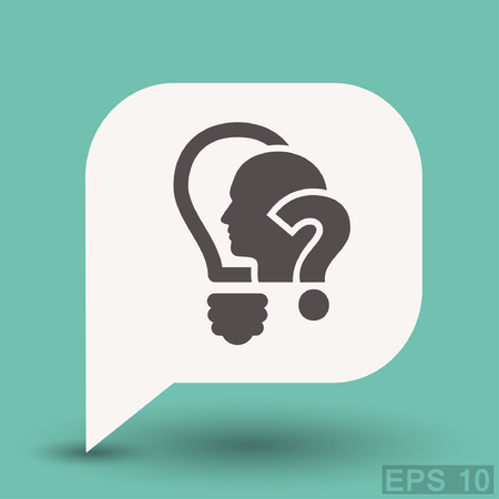 confused face: Pictograph of question mark and man. Vector concept illustration for design. Eps 10
