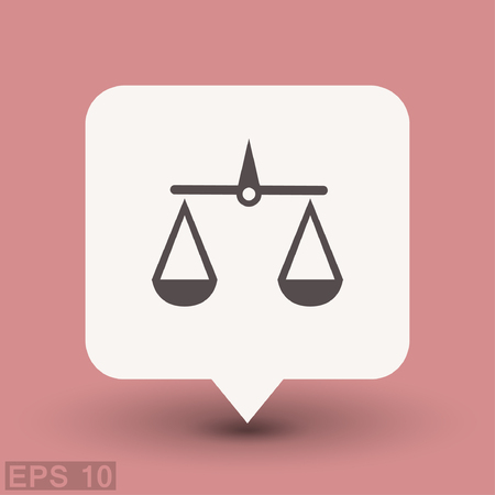 guilt: Pictograph of justice scales. Vector concept illustration for design. Eps 10