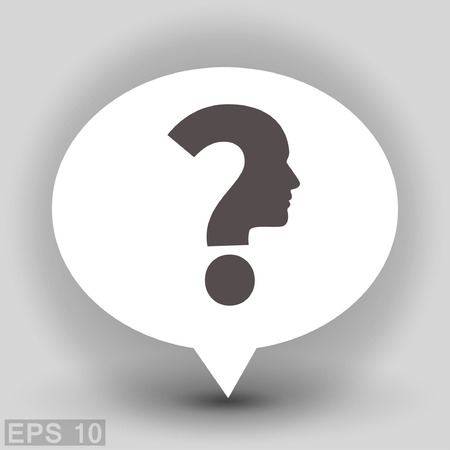 human face: Pictograph of question mark and man. Vector concept illustration for design. Illustration