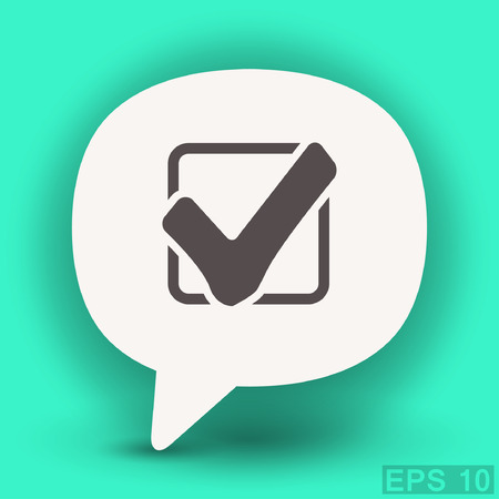 confirm confirmation: Pictograph of check mark. Vector concept illustration for design. Eps 10