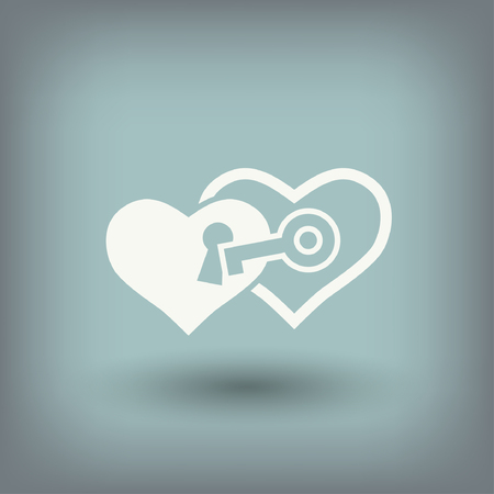 10 key: Pictograph of heart with key. Vector concept illustration for design. Eps 10 Illustration