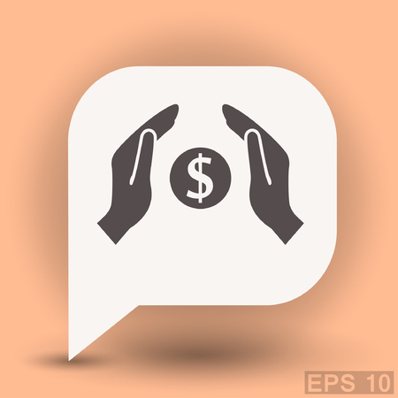 coral bell: Pictograph of money in hand. Vector concept illustration for design. Eps 10