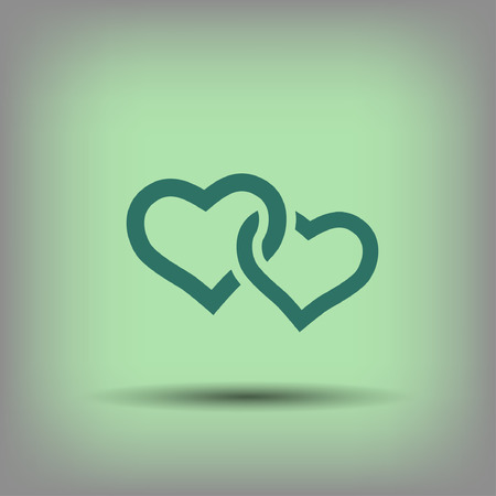 two hearts: Pictograph of two hearts. Illustration