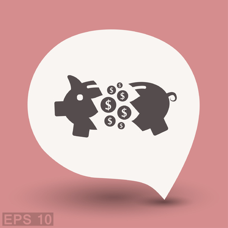 put: Pictograph of moneybox. Vector concept illustration for design. Eps 10