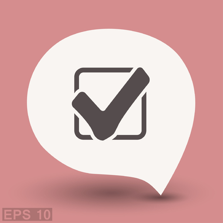 verify: Pictograph of check mark. Vector concept illustration for design. Eps 10