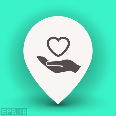 helpful: Pictograph of heart in hand. Vector concept illustration for design.