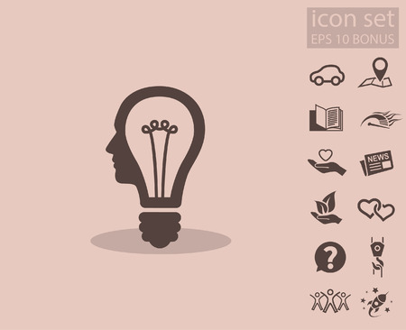 invent: Pictograph of bulb concept. Vector concept illustration for design.