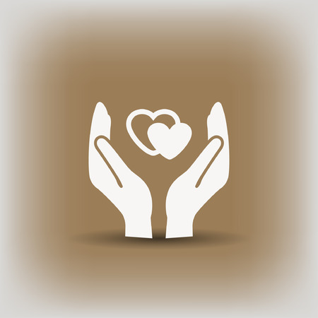 Pictograph of heart in hand. Vector concept illustration for design.