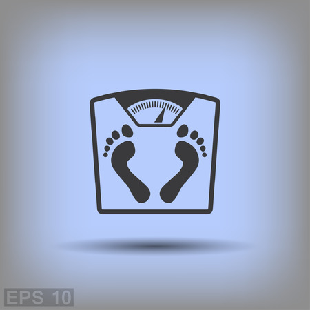 bathroom weight scale: Pictograph of bathroom scale with footprints. Vector concept illustration for design. Illustration