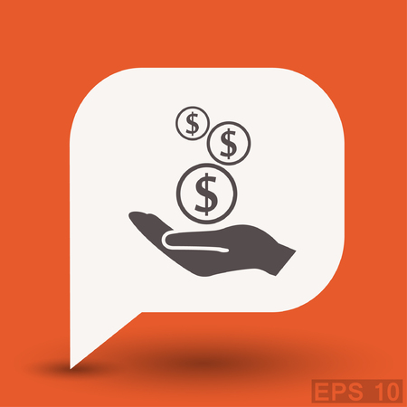 Pictograph of money in hand. Vector concept illustration for design. Eps 10