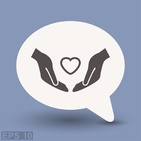 Pictograph of heart in hand. Vector concept illustration for design. Eps 10 Illustration