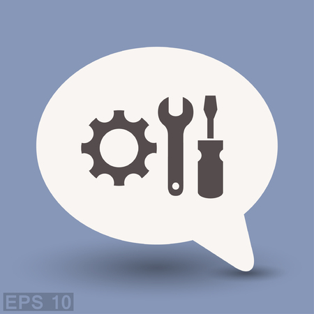 mechanism of progress: Pictograph of gear. Vector concept illustration for design. Eps 10