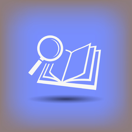 Pictograph of book and magnifier glass. Vector concept illustration for design. Eps 10 Illustration