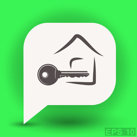 close account: Pictograph of key. Vector concept illustration for design. Eps 10
