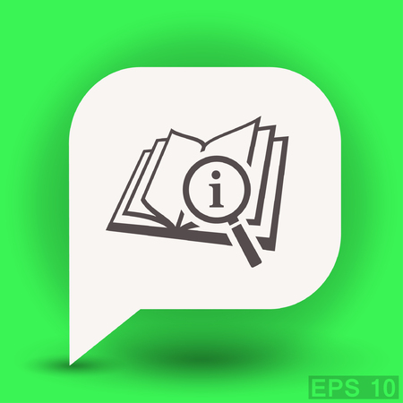magnification: Pictograph of book and magnifier glass. Vector concept illustration for design. Eps 10 Illustration