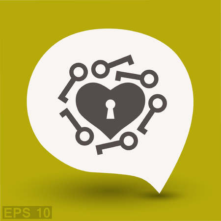 Pictograph of heart with key. Vector concept illustration for design. Eps 10 Illustration