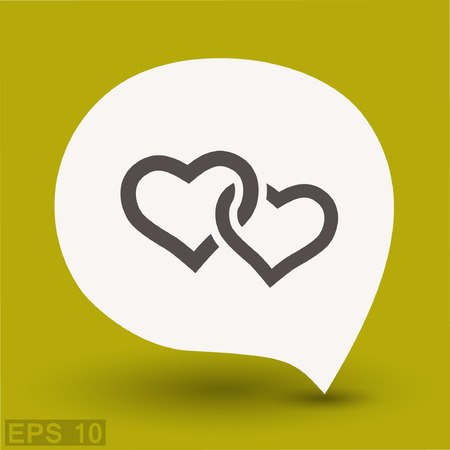 Pictograph of two hearts. Vector concept illustration for design. Eps 10 Illustration