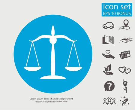 Pictogramme des échelles de justice. Illustration de concept de vecteur pour la conception.