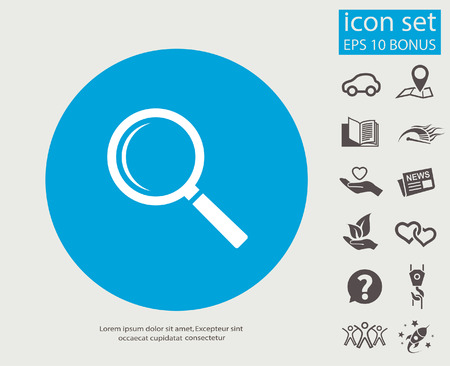 magnify: Pictograph of search. Vector concept illustration for design. Illustration