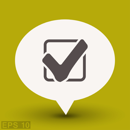 confirm: Pictograph of check mark. Vector concept illustration for design.