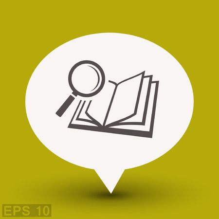 Pictograph of book and magnifier glass. Vector concept illustration for design. Illustration