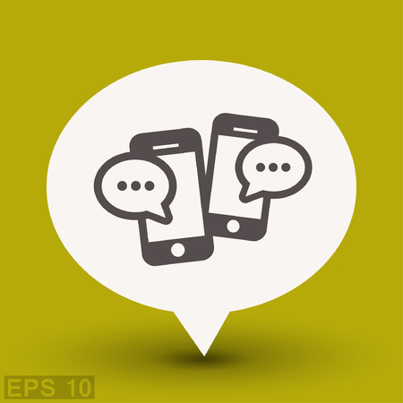 Pictograph of message or chat on smartphone. Vector concept illustration for design. Eps 10 Illustration